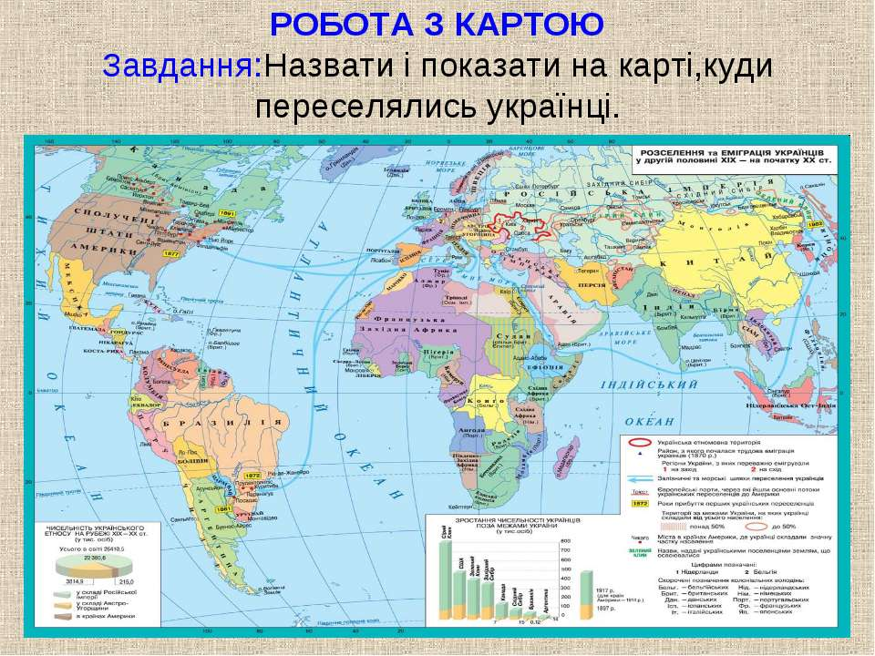РОБОТА З КАРТОЮ Завдання:Назвати і показати на карті,куди переселялись українці.