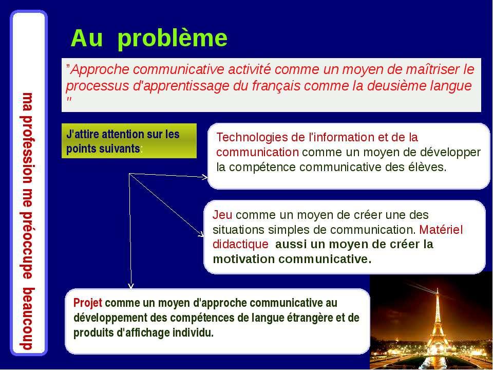 """ma profession me préoccupe beaucoup """"Approche communicative activité comme un..."""