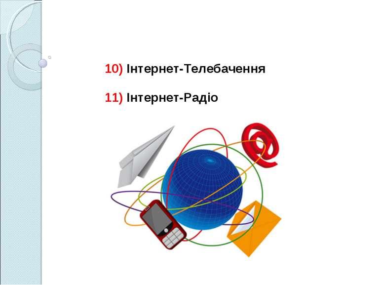 10) Інтернет-Телебачення 11) Інтернет-Радіо