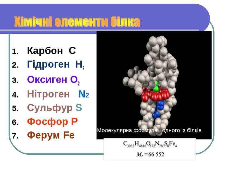 Карбон C Гідроген H2 Оксиген O2 Нітроген N2 Сульфур S Фосфор P Ферум Fe Молек...