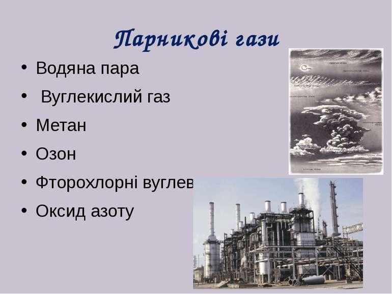 Парникові гази Водяна пара Вуглекислий газ Метан Озон Фторохлорні вуглеводи О...