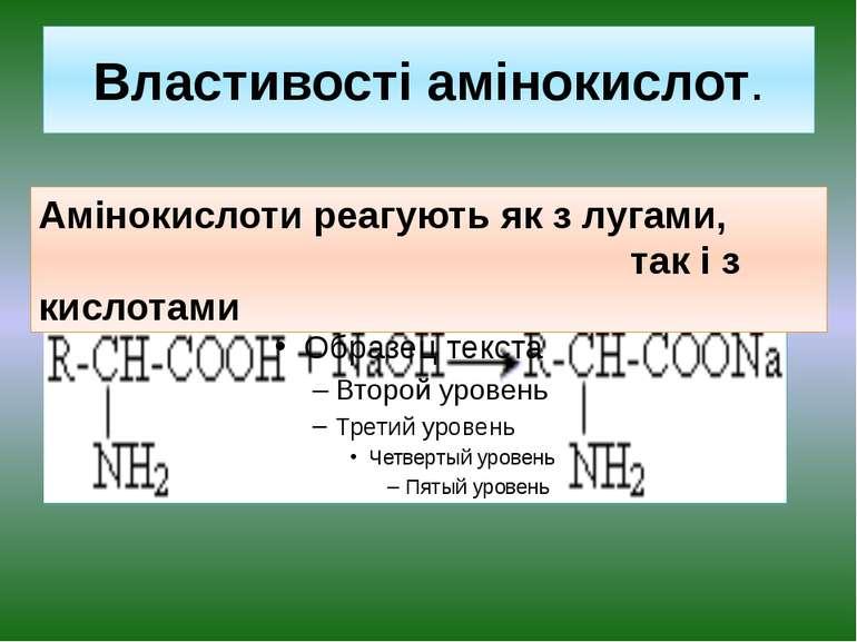 Властивості амінокислот. Амінокислоти реагують як з лугами, так і з кислотами