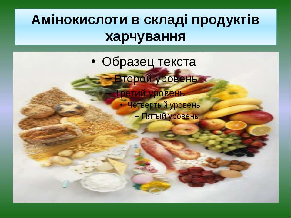 Амінокислоти в складі продуктів харчування