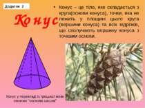 Конус – це тіло, яке складається з круга(основи конуса), точки, яка не лежить...
