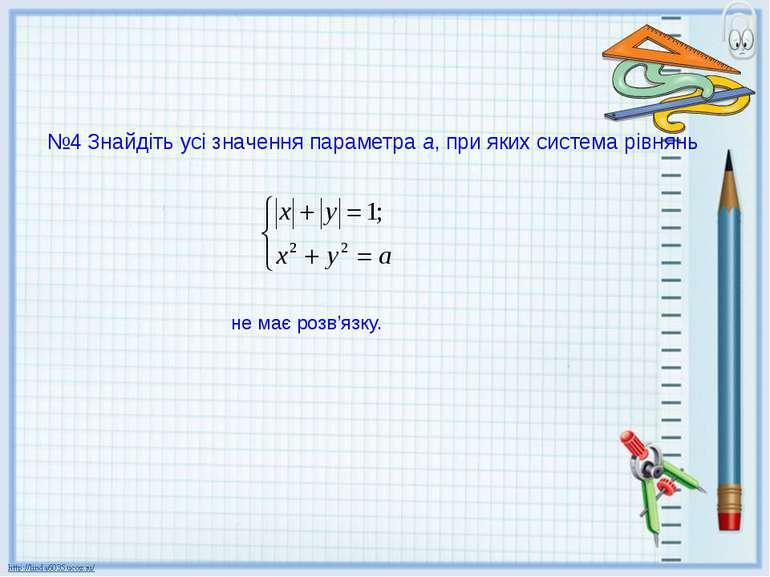 №4 Знайдіть усі значення параметра а, при яких система рівнянь не має розв'язку.