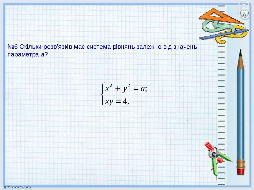 №6 Скільки розв'язків має система рівнянь залежно від значень параметра а?