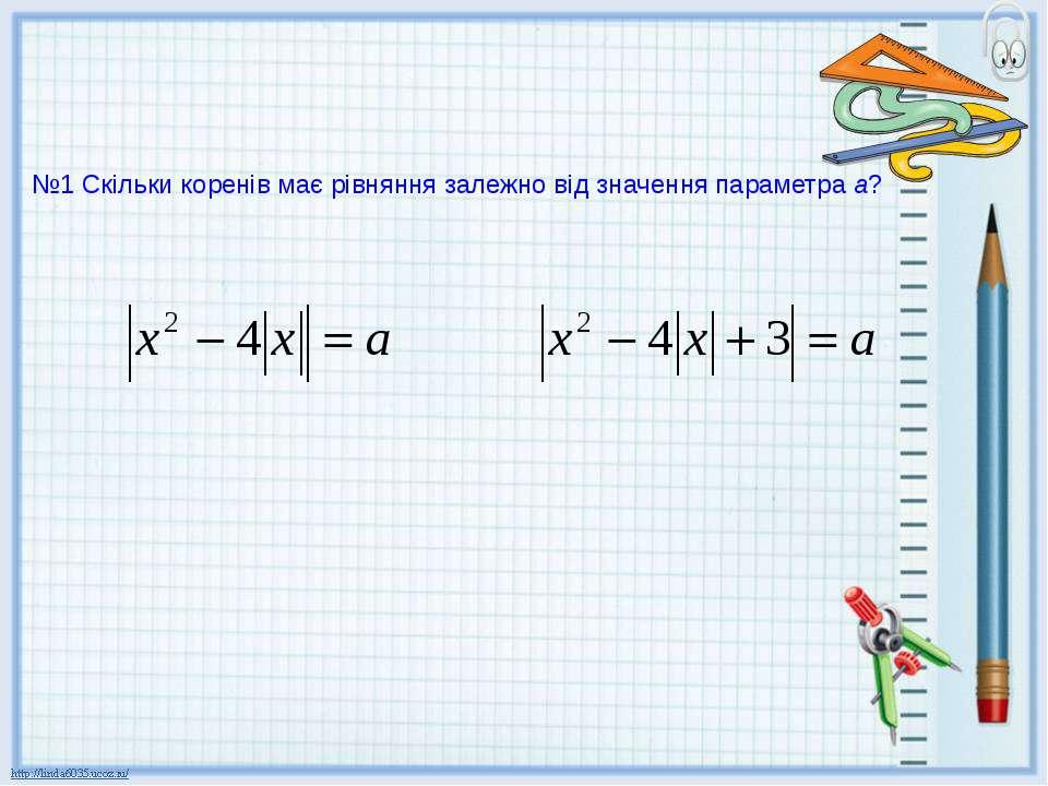 №1 Скільки коренів має рівняння залежно від значення параметра а?