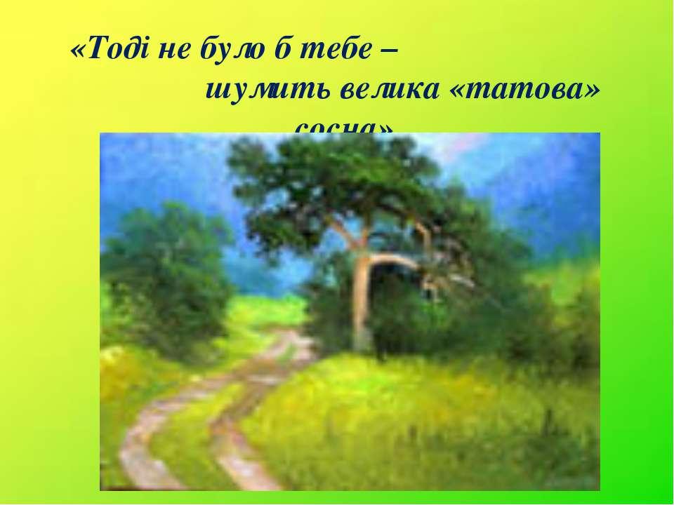 «Тоді не було б тебе – шумить велика «татова» сосна».
