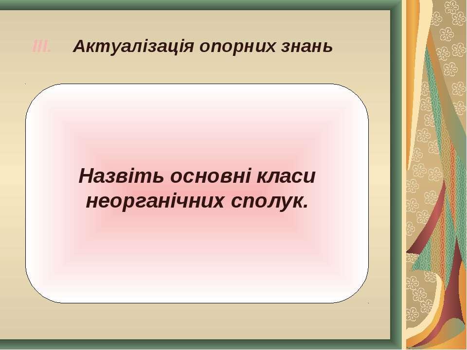 III. Актуалізація опорних знань Назвіть основні класи неорганічних сполук.