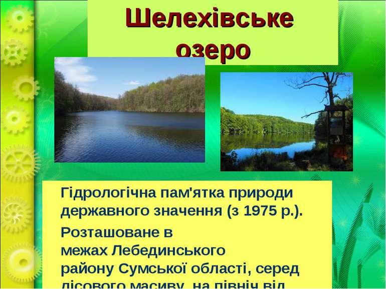 Шелехівське озеро Гідрологічнапам'ятка природи державного значення (з 1975 ...