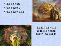 8,8 : 4 = 22 6,4 : 32 = 2 6,2 : 62 = 0,11 11,11 : 11 = 1,1 2,46 :12 = 0,25 0,...