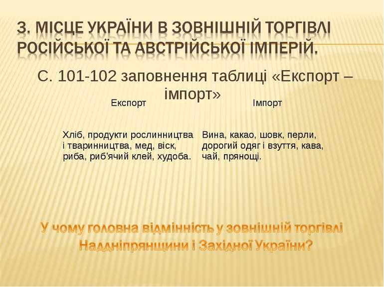 С. 101-102 заповнення таблиці «Експорт – імпорт» Експорт Імпорт Хліб, продукт...