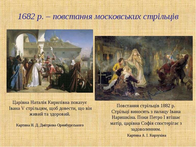 1682 р. – повстання московських стрільців Царівна Наталія Кирилівна показує І...