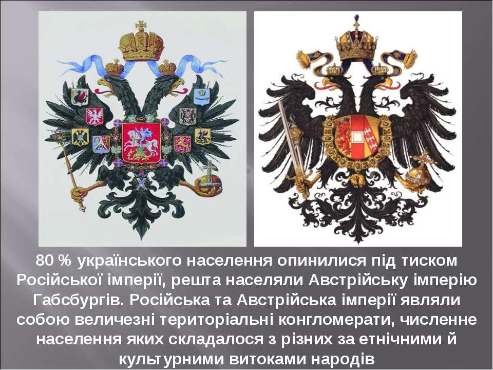 80 % українського населення опинилися під тиском Російської імперії, решта на...