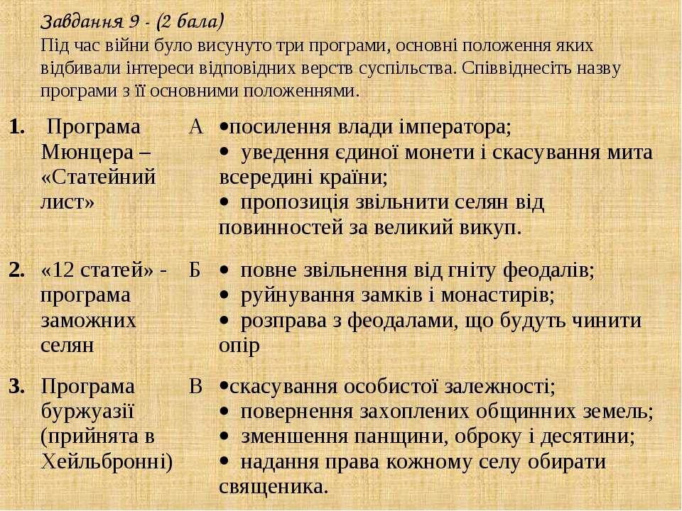 Завдання 9 - (2 бала) Під час війни було висунуто три програми, основні полож...