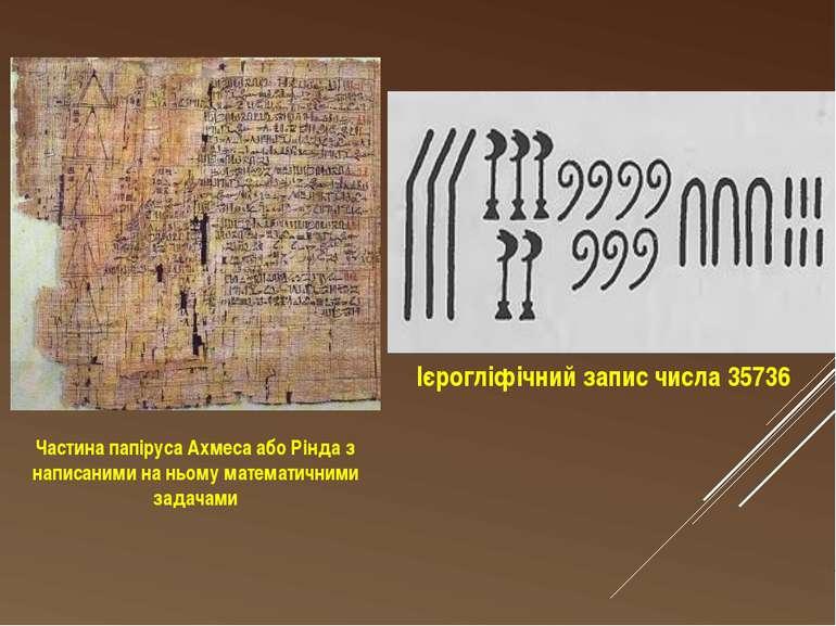 Ієрогліфічний запис числа 35736 Частина папіруса Ахмеса або Рінда з написаним...