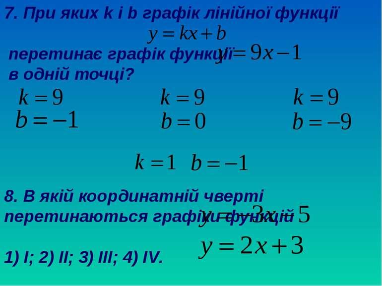 7. При яких k і b графік лінійної функції перетинає графік функції в одній то...
