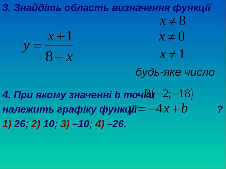 3. Знайдіть область визначення функції 4. При якому значенні b точки належить...