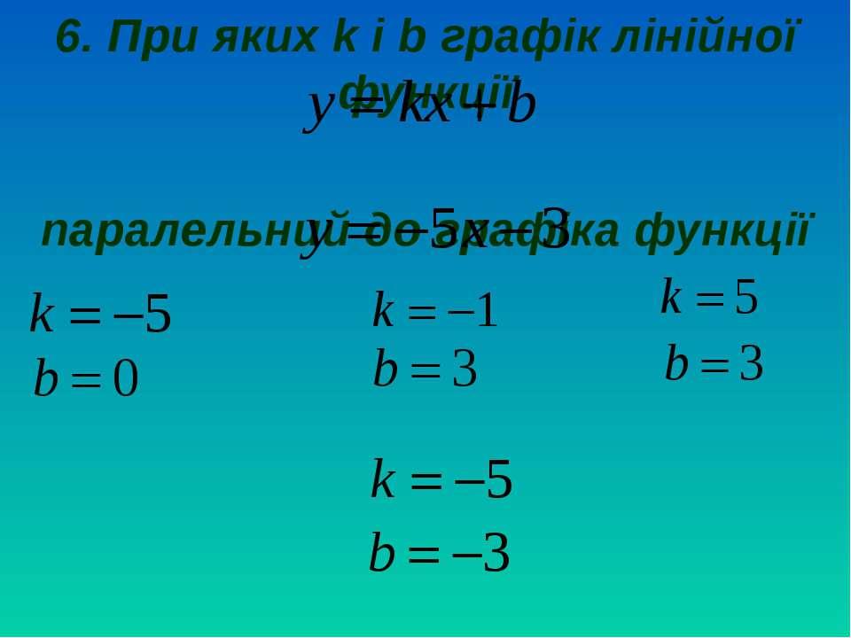 6. При яких k і b графік лінійної функції паралельний до графіка функції