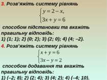 3. Розв'яжіть систему рівнянь способом підстановки та вкажіть правильну відпо...