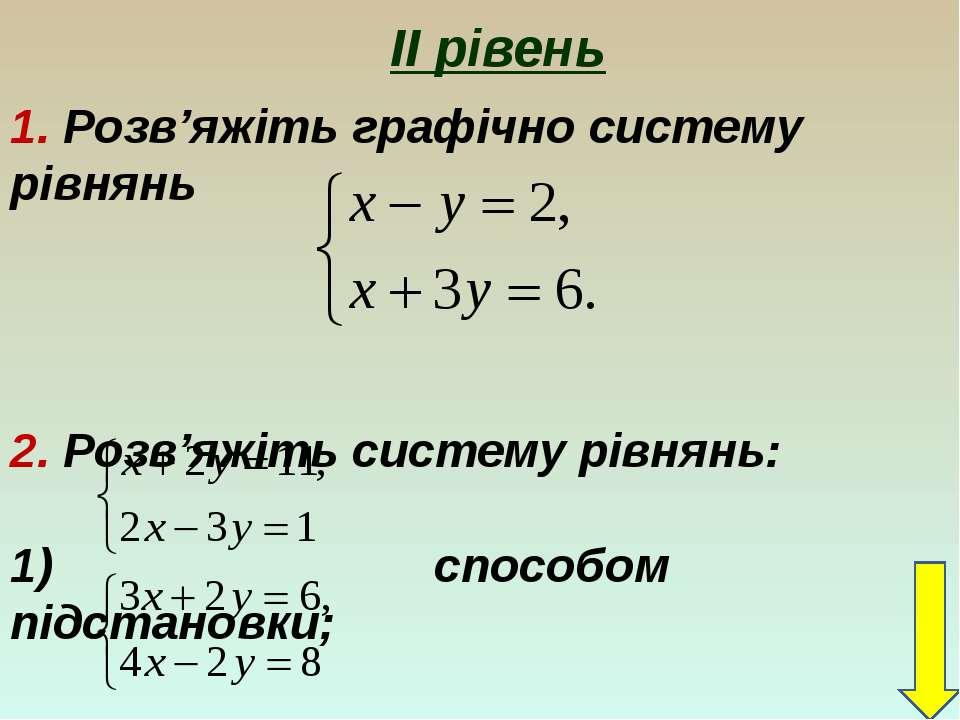 ІІ рівень 1. Розв'яжіть графічно систему рівнянь 2. Розв'яжіть систему рівнян...