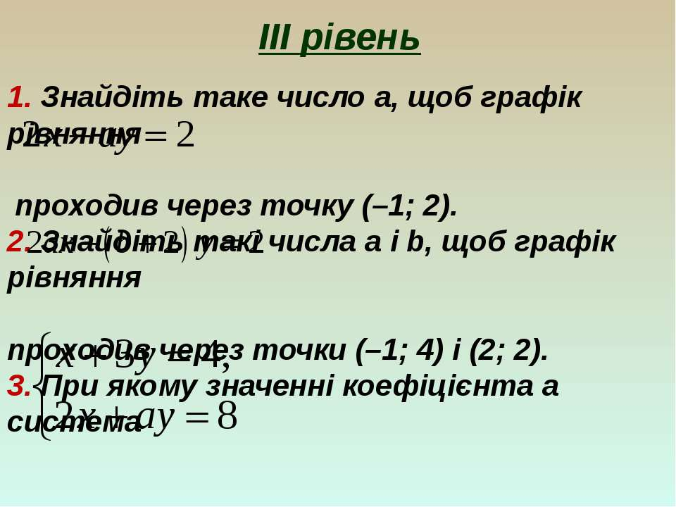 ІІІ рівень 1. Знайдіть таке число a, щоб графік рівняння проходив через точку...