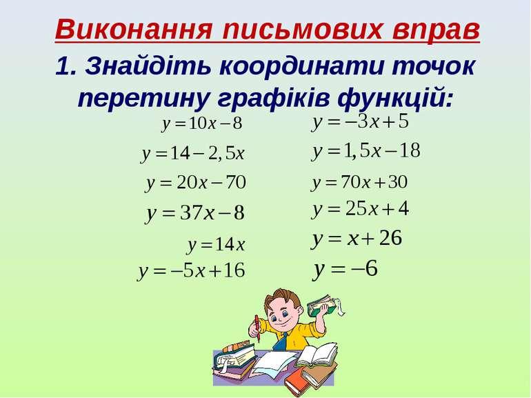 Виконання письмових вправ 1. Знайдіть координати точок перетину графіків функ...