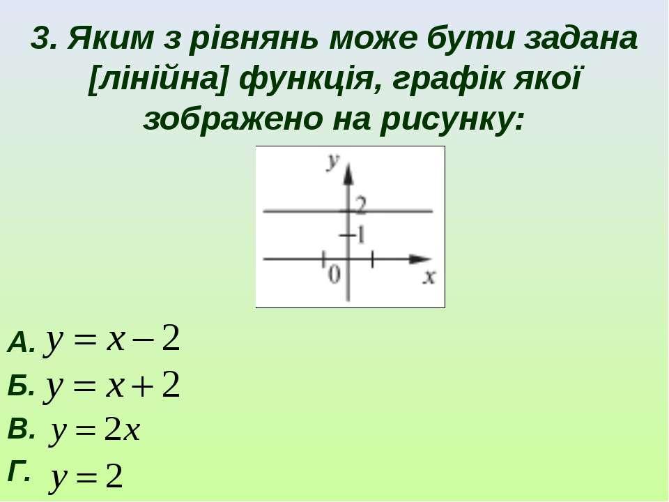 3. Яким з рівнянь може бути задана [лінійна] функція, графік якої зображено н...