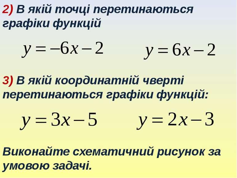 2) В якій точці перетинаються графіки функцій 3) В якій координатній чверті п...