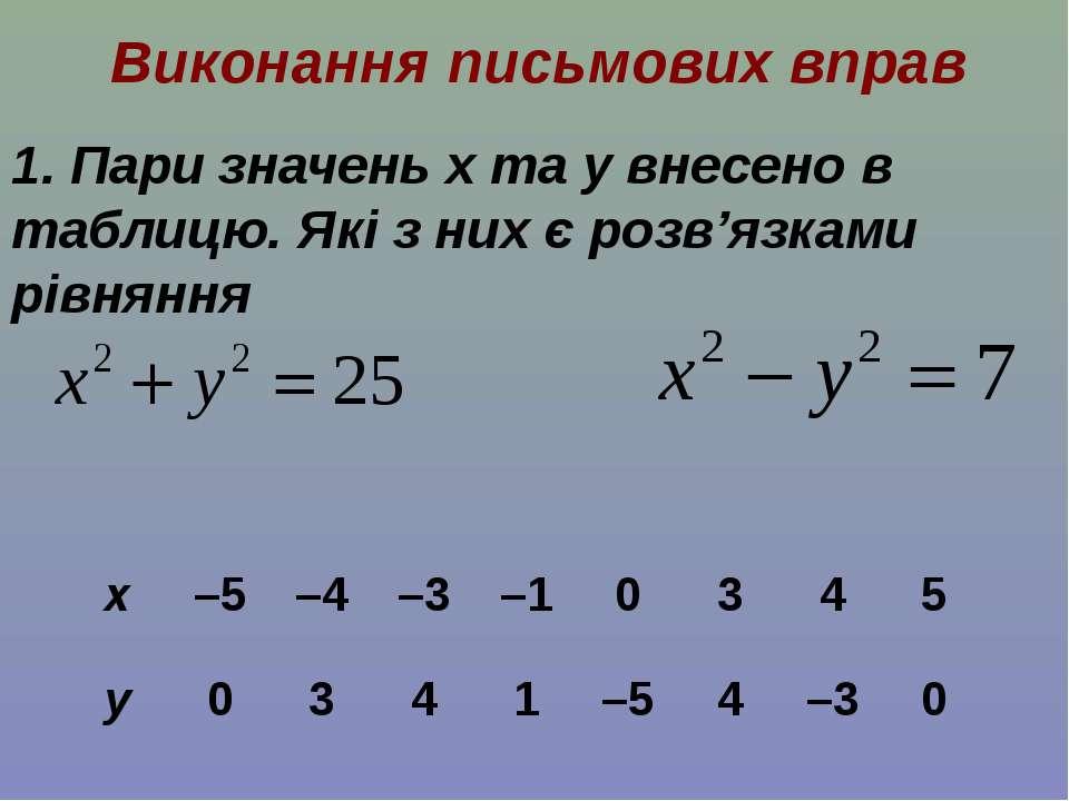 Виконання письмових вправ 1. Пари значень x та y внесено в таблицю. Які з них...