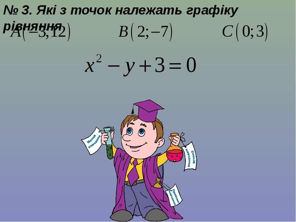 № 3. Які з точок належать графіку рівняння