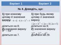 Варіант 1 Варіант 2 № 4. Доведіть, що: 1) при кожному цілому k значення вираз...