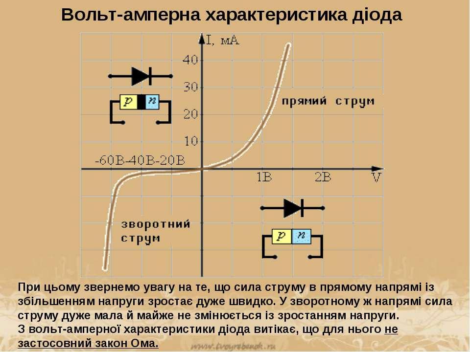 Вольт-амперна характеристика діода При цьому звернемо увагу на те, що сила ст...