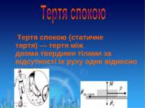 Тертя спокою (статичне тертя)—тертяміж двоматвердими тіламиза відсутност...