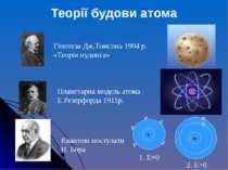Гіпотеза Дж.Томсона 1904 р. «Теорія пудинга» Планетарна модель атома Е.Резерф...