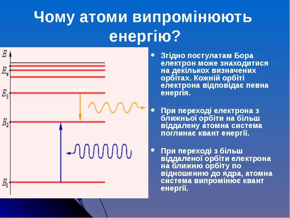 Згідно постулатам Бора електрон може знаходитися на декількох визначених орбі...