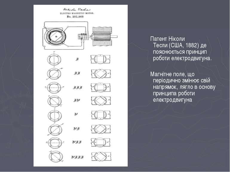 ПатентНіколи Тесли(США,1882) де пояснюється принцип роботи електродвигуна....