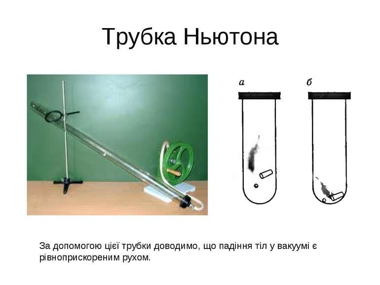 Трубка Ньютона За допомогою цієї трубки доводимо, що падіння тіл у вакуумі є ...