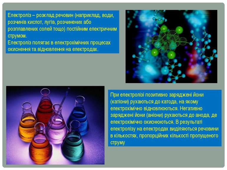 Електроліз – розклад речовин (наприклад, води, розчинів кислот, лугів, розчин...
