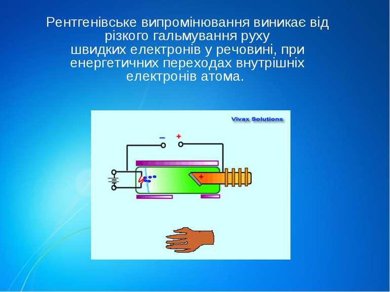 Рентгенівське випромінювання виникає від різкого гальмування руху швидкихеле...