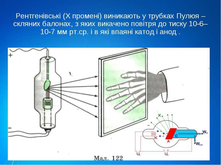 Рентгенівські (Х промені) виникають у трубках Пулюя – скляних балонах, з яких...