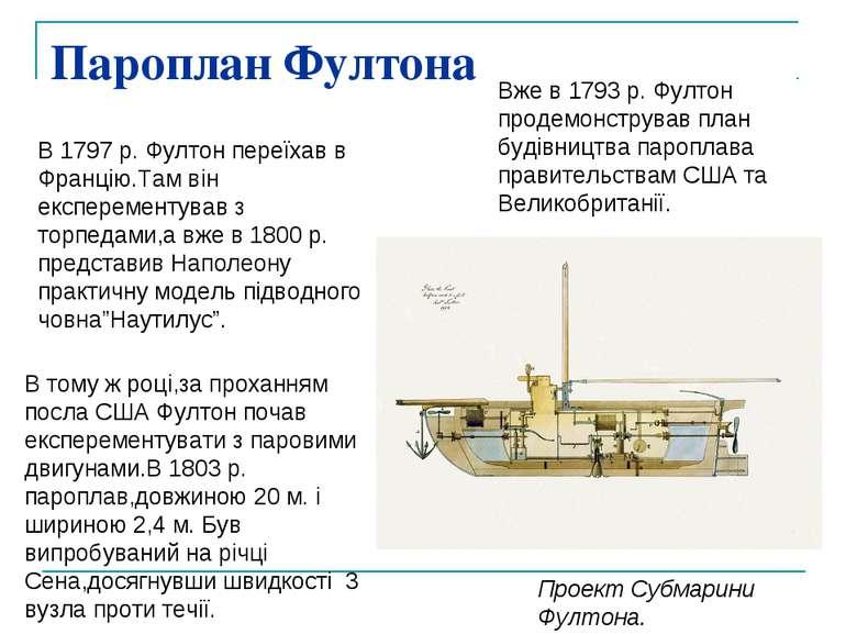 Пароплан Фултона Проект Субмарини Фултона. Вже в 1793 р. Фултон продемонструв...
