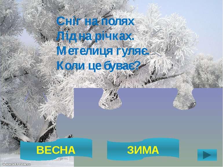 ВЕСНА ЗИМА Сніг на полях Лід на річках. Метелиця гуляє. Коли це буває?