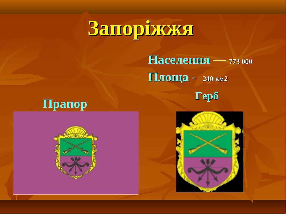 Запоріжжя Населення — 773 000 Площа - 240 км2 Герб Прапор