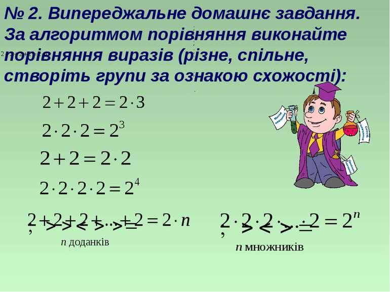 № 2. Випереджальне домашнє завдання. За алгоритмом порівняння виконайте порів...