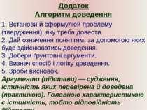 Додаток Алгоритм доведення 1. Встанови й сформулюй проблему (твердження), яку...