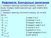 Рефлексія. Контрольні запитання 1. Наведіть приклад числового виразу і вкажіт...