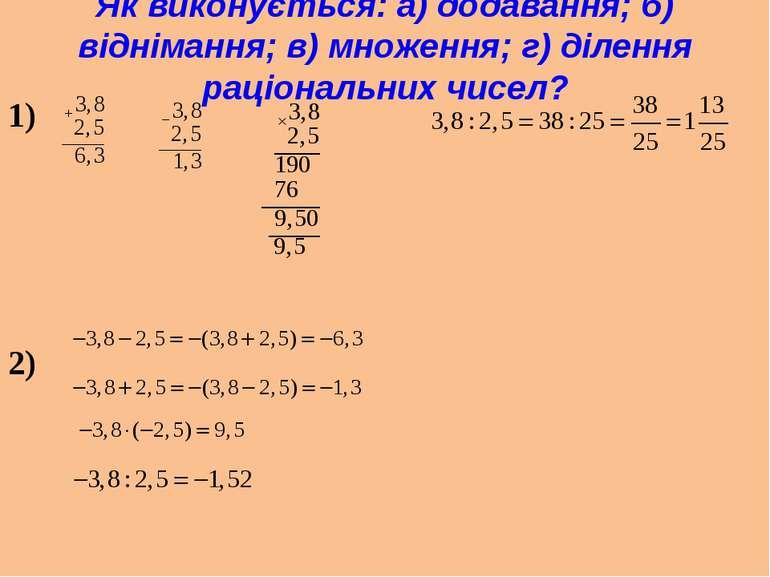 Як виконується: а) додавання; б) віднімання; в) множення; г) ділення раціонал...