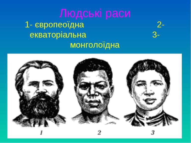 Людські раси 1- європеоїдна 2- екваторіальна 3- монголоїдна