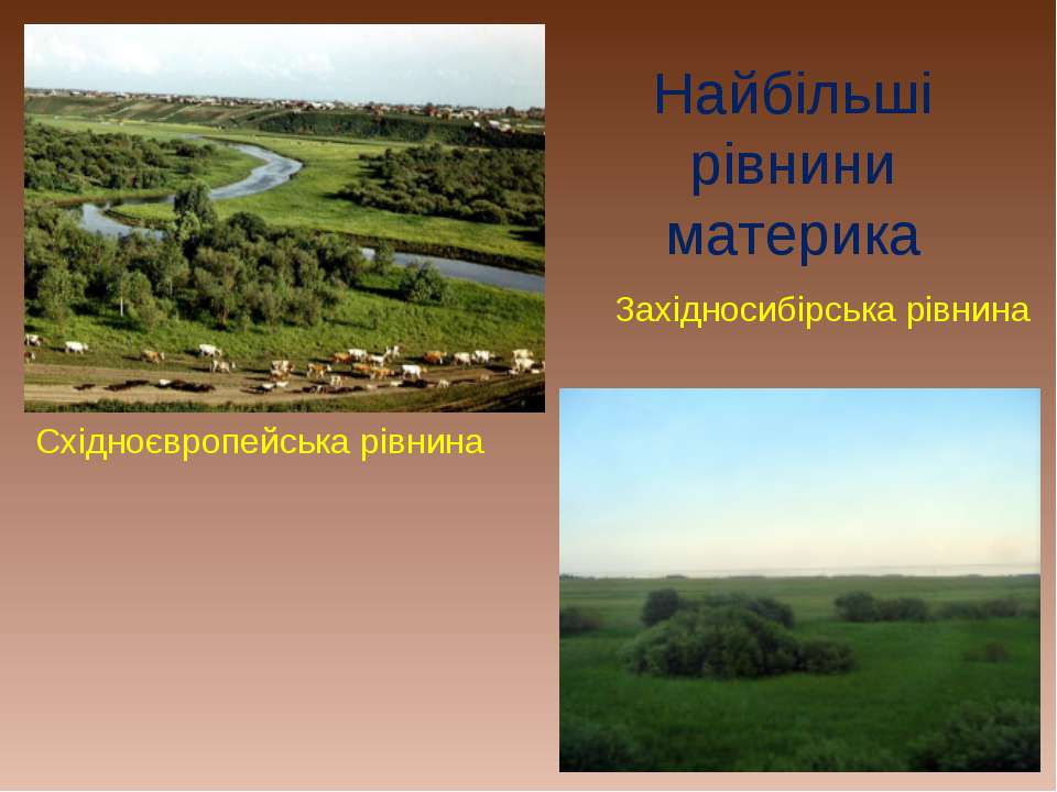 Найбільші рівнини материка Східноєвропейська рівнина Західносибірська рівнина
